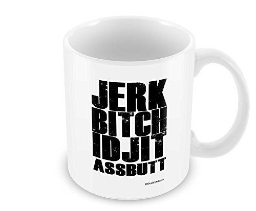 Geek Details Jerk Bitch Idjit Assbutt Supernatural Coffee Mug, 11 oz, White by Geek Details
