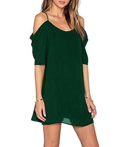 Missmao mini vestito donna manica corta fionda spalla nuda lunga camicia maglietta camicetta tunica verde scuro 2xl