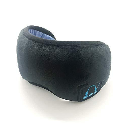 HUACANG Bluetooth Schlafaugenmaske drahtloser Kopfhörer, justierbarer Musik-Schlaf-Augen-Schatten mit Eingebaute Lautsprecher Mikrofon freihändig Perfekt for Flugreisen, Siesta und Schlafen (Schwarz)