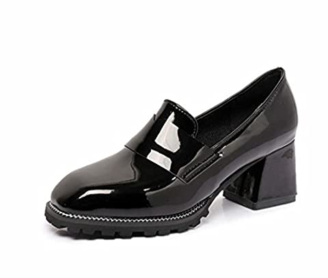 Vintage Leather Shoes Classic Chunky Heel Single Shoes Autumn Mule Shoes Women High Heel ( Color : Black , Size : 36