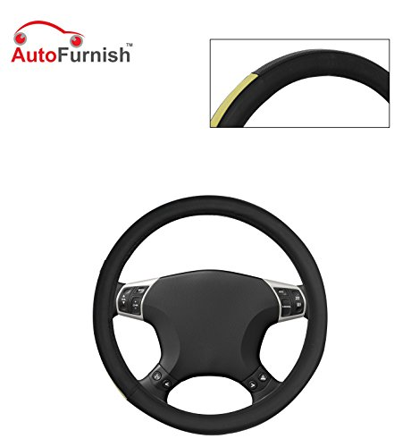 Autofurnish (AFSC-719 Yellow Black) Leatherite Car Steering Cover For Hyundai Fluidic Verna 4S  available at amazon for Rs.299