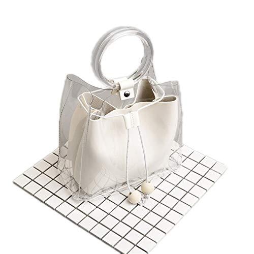 ANANXILA Kleine Schultertasche Transparent Kordelzug Mädchen süße Composite Tasche Weiblich Handtaschen weiß