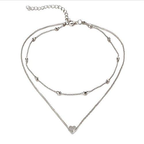 EROSPA® Modische Doppel-Kette mit Herz-Anhänger Halskette - Damen Mädchen - Gold oder Silberfarben (Silber)