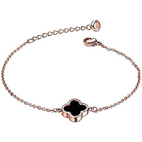 findout señoras 14K chapado en oro rosa de acero de titanio madre de la perla de ónix blanco y negro pulseras trébol, para las mujeres niñas,