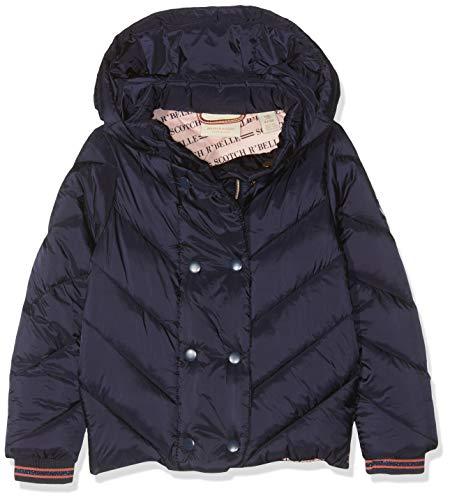 Scotch & Soda Mädchen Lightweight Padded Jacket with Double Breasted Closure Jacke, Blau (Night 002), 140 (Herstellergröße: 10)