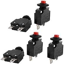 sourcingmap® 5 pcs AC 125V/250V 15A bouton poussoir Coupe-circuit de surcharge pour le compresseur air