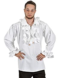 Medieval Shirt - Laurenz - With Frills - White Cotton - For Pirates or Noble Men