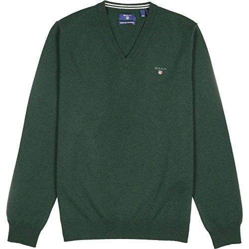 Gant Men's Men's Green V-Neck Wool Sweater In Size Xxl Green (Green Wool Pullover)