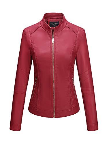 Bellivera Damen PU Lederjacke (3 Farben), Bikerjacke mit Reißverschluss, Kurze Jacke für Herbst,...
