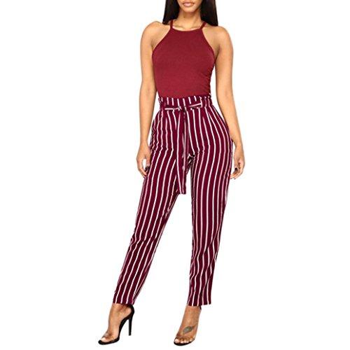 Coolster Damen-beiläufige Gestreifte Hohe Taillen-Hosen-Elastische Taillen-beiläufige Hosen - Lose und Bequeme Gamaschen (Wein, XL) (Rote Wolle Hosen)