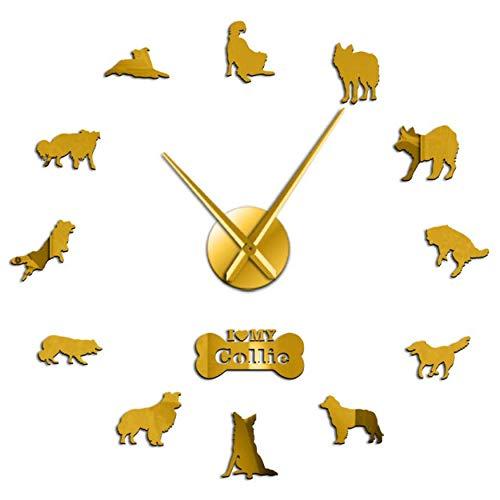 MMLUCK Hunderasse Border Collie Silhouette Wandaufkleber Rahmenlose DIY Riesen Wanduhr Wohnkultur Schottischer Schäferhund Hund Pfote Wanduhr (Gold) 47inch -
