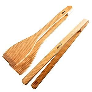 Uulki Grillzangen Set aus Europäischem Kirschbaumholz (30 cm lang): 1 BBQ Wender und 1 Grillwender Zange - Umweltfreundliche Küchenzangen Holzzange zum Braten Grillen Barbecue - Grillbesteck Zubehör