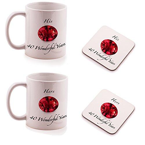 Ruby zum 40. Hochzeitstag HIS und HERS Tasse und Untersetzer Geschenk-Set–(2Stück)