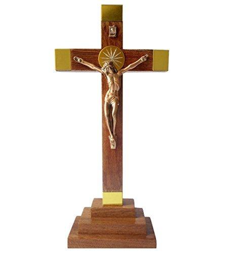 FengMicon Holz Stehend Religiöse Kreuz mit Kruzifix 22,9cm