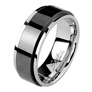 Mianova Band-Ring Edelstahl mit Spinning Herrenring Damenring Partnerring Trauring Damen Herren Silber Schwarz Größe 57 (18.1) Breit 6mm