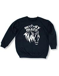 BLACK Moody Mare Diamante Diamante Diamonte children riding sweatshirt (Size) 14-15 Years -Black