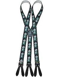 Trachten Hosenträger mit Edelweiss für Knöpfe Rot, Grün, Blau, Schwarz -105
