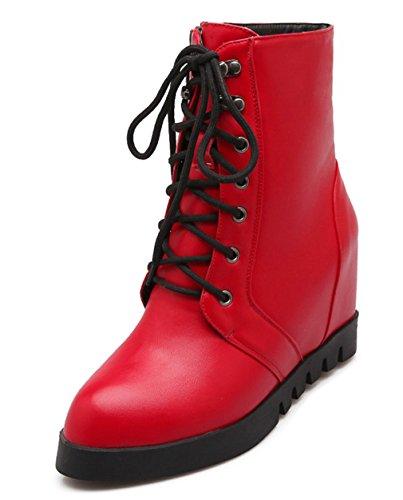YE Damen Spitze High Heels Plateau Wedges Stiefeletten mit Keilabsatz Schn眉ren 5cm Absatz Ankle Boots Rot