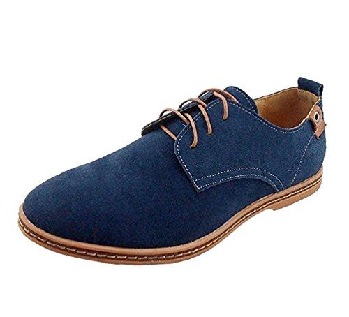 Zapatos Vestir Hombre Oxford Cuero Derby Casual Ante Cordones Punta Boda Verano Negocios Formales Moda Casuales Calzado Azul Negro Marron Rojo 38-48 DBL38