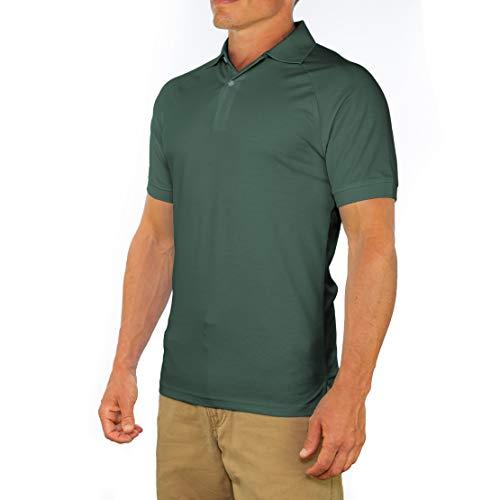 Comfortably Collared Herren Poloshirt mit bequemem Kragen, Slim Fit, kurzärmlig, weich - Grün - X-Groß -