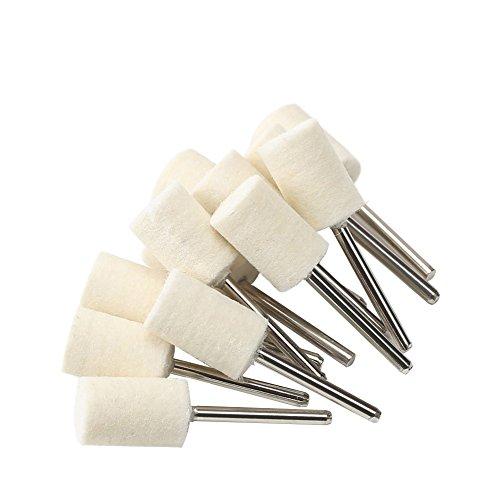 Shintop 12 Stück Filz-Polier-Set, Polierwerkzeug aus gefilzter Wolle für Schmuck, Glas, Stein, Keramik, Nail Art (Zylindrisch, Weiß) -