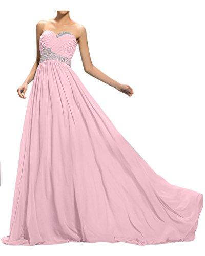 Sunvary Bodenlang Herzform Neu Chiffon Perlen Paillette Falte A-Linie Abendkleider 2016 Partykleid Ballkleider Hellrosa
