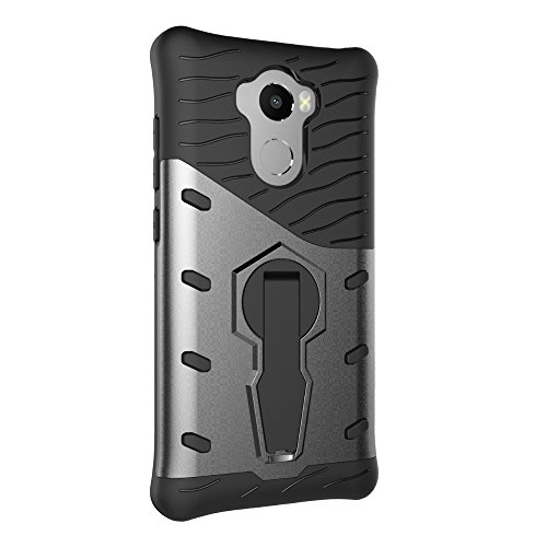 Für Xiaomi Hongmi 4 & 4 Prime & 4 Pro Case Neue Rüstung Tough Style Hybrid Dual Layer Armor Defender Soft TPU / PC Back Cover Case Mit 360 ° Stand [Shockproof Case] ( Color : Gold ) Black