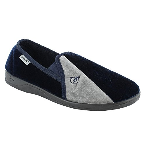 new-mens-dunlop-velour-twin-gusset-slippers-gents-shoes-sizes-uk-7-8-9-10-11-12-navy-uk-7