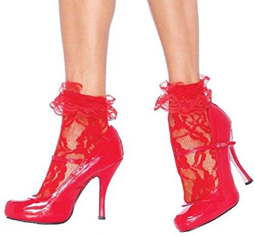 Leg Avenue Damen Nylonsöckchen Rot mit Rüsche und Spitze mit Blumenmuster Einheitsgröße 36 bis - Kostüm Mit Netzstrümpfe