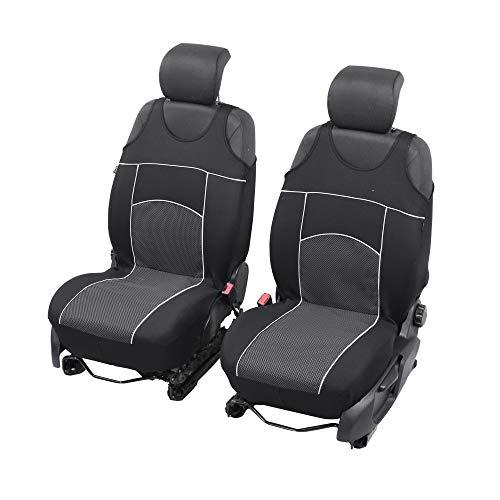 Universelle Sitzbezüge Tuning EXTRA kompatibel mit Renault Modus Sitzauflage Überzüge Schonbezüge Vordersitze SCHWARZ