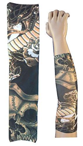 W98 - ts93 - modello 52 - manicotto tattoo - indossabile - manica - tatuaggio finto - immagine - scheletro - teschio - morte - drago - rettile - serpente - rose - tatoo - mezza manica - tribale