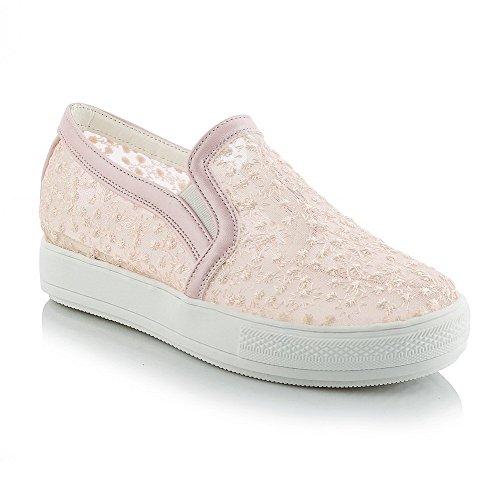 VogueZone009 Damen Niedriger Absatz Ziehen Auf Rund Zehe Pumps Schuhe Pink