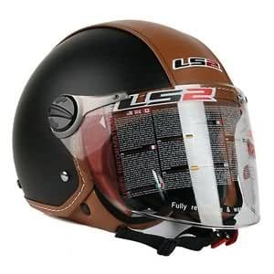 LS2 OF560 Bettle Open Face  Helmet Brow Leather with Clear Visor (Large)