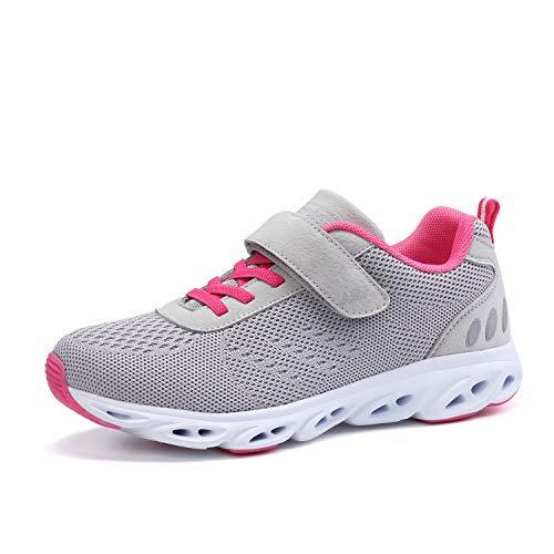 Ulogu Unisex Laufschuhe Outdoor Fitness Schuhe Leicht Atmungsaktiv Turnschuhe-Sneaker mit Klettverschluss, Gr.-36 EU, Grau