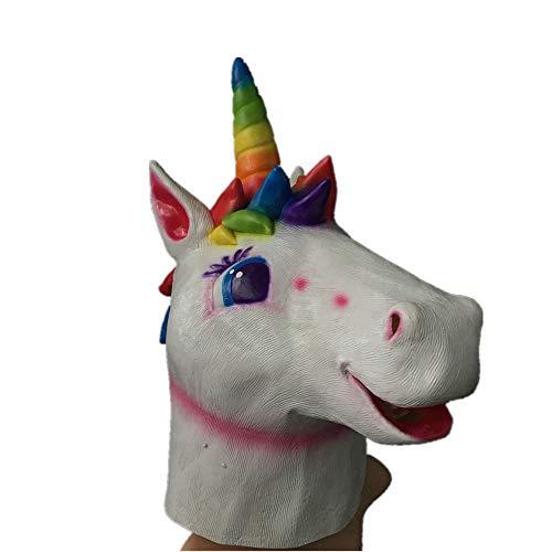 Horse Kostüm White - Faseer Adult Neuheit White Horse Kopf Maske Regenbogen Einhorn Halloween Party Naturlatex Tierkopf Maske