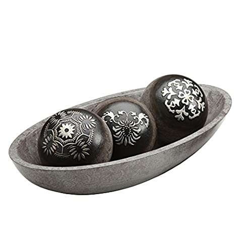 Hosley's Black and Silver Decorative Orb/Ball Set w/Bowl in Gift Box. Ideal for Weddings, Parties, Special Events, Spa and