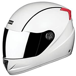 Studds Professional Helmet With Mirror Visor (White and Black, XL)