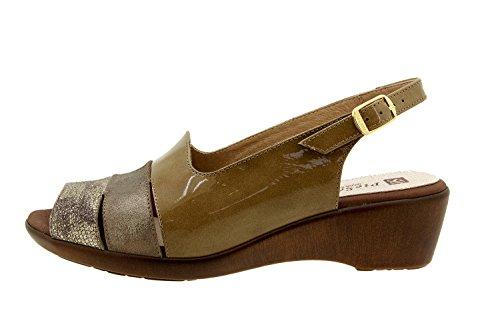 Scarpe donna comfort pelle Piesanto 8554 sandali comfort larghezza speciale Lizard Visón