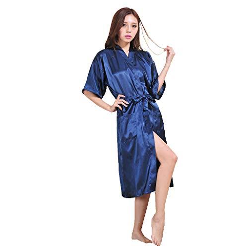 Linkay Damen Nachthemden Simulation Silk Lange Ärmel Schlafanzugoberteile Bequem Zuhause Home Service Dünne Schlafanzüge Schlafanzughosen Pyjama Gesetzt (Blau, XXX-Large) -
