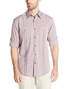 1a9de02d Cubavera Men's Long Sleeve Cotton Gingham Two Pocket Guayabera Shirt,  Zinfandel, Large