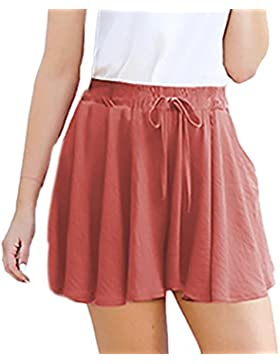 Shorts Donna Estivi Vita Alta Sciolto Pantaloni Corti Moda Puro Colore Casual A Pieghe Linea Ad A Taglie Forti...