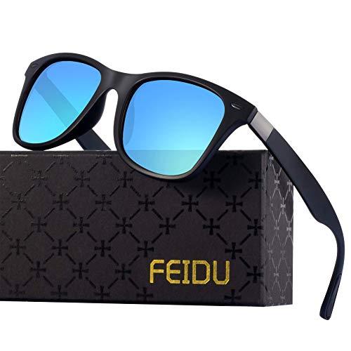 Polarized Sonnenbrillen Herren Vintage Style Sonnenbrillen Damen-Sport im Freien Golf Radfahren Angeln Wandern FD2150 (Blau schwarz, 60)