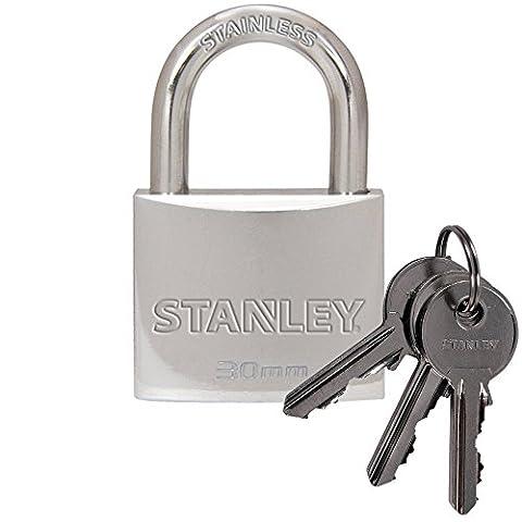 STANLEY Solid Brass Chrome plated Vorhangschloss 30mm mit Standard-Bügel, 3 Schlüssel, S742-011, Schloss, Bügelschloss
