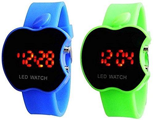 buycrafty blau und grün Combo Apple Form Kinder Digital LED Armbanduhr Geschenk für Jungen Apple Combo