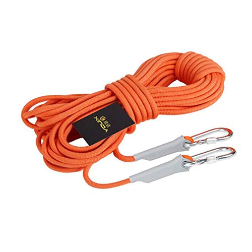 Corde d'escalade Escalade de sécurité en plein air escalade corde de rappel corde auxiliaire 10/20/30/50 / 100M, équipement auxiliaire de sauvetage de corde auxiliaire avec mousqueton en plein air