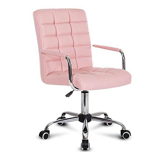 Sedia per studenti, poltrona per dormitori, poltrona per computer, poltrona da ufficio semplicemente basculante, poltrona per ancoraggio schienale ( colore : rosa )
