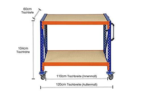 Werkbank fahrbar, Packtisch mit Holzboden verschiedene Breiten/Höhen/Tiefen/Ebenen (120/104/60cm (B/H/T), 2 Ebenen) - 2