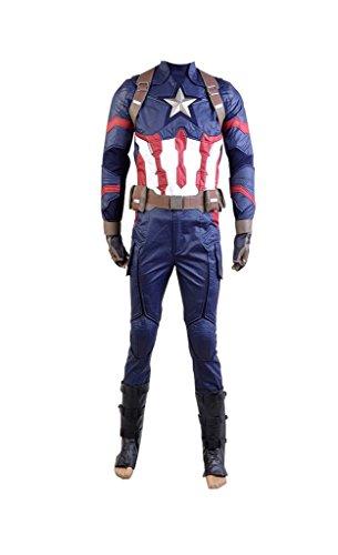 Cosplay Captain America Kostüme (Fuman Captain America: Civil War Steve Rogers Uniform Cosplay Kostüm Karneval Kostüm Für Erwachsene Herren Blau)