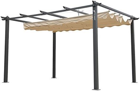 Angel Living Aluminium Pergola IdéAle Pour Votre Terrasse, Toit (3x4M) Retractable, Toile Coulissante 3x3M/3X4M (3x4M) Toit 112adb