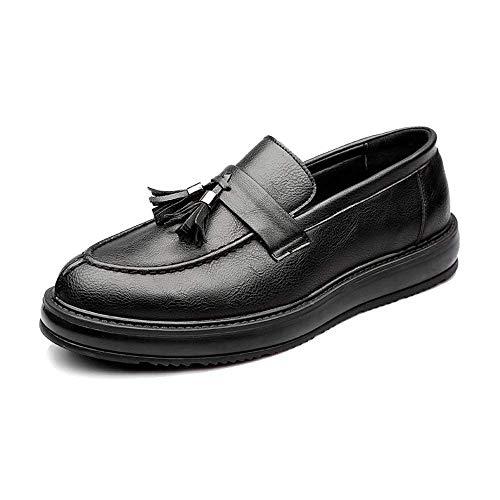 FuweiEncore 2018 Herren Business PU Lederschuhe Klassische Slip-on Loafers Quaste Anhänger Dekoration Outsole Oxfords (Color : Schwarz, Größe : 41 EU) (Farbe : Schwarz, Größe : 40 EU)